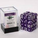 Boite de Boite de 36 dés à 6 faces Blackfire - Violet marbré et blanc