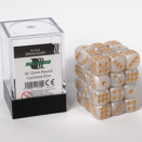 Blackfire Dice Cube 12mm D6 36 Dice Set - Marbled white and gold